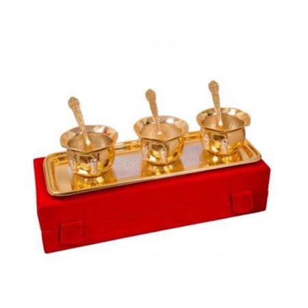 Silver & Gold Plated Brass Handi Set 7 Pcs