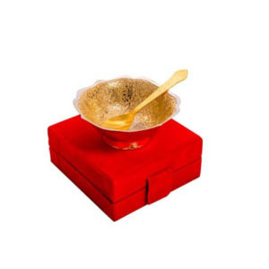 Gold Plated Brass Peacock Carving Bowl