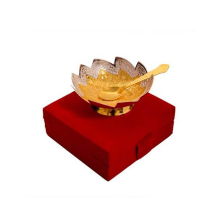 Gold Plated Brass Bowl Leaf Shaped Bowl