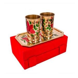 Silver & Gold Plated Brass Glass Set 3 Pcs