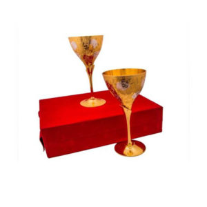 Silver & Gold Plated Brass Wine Glass Set