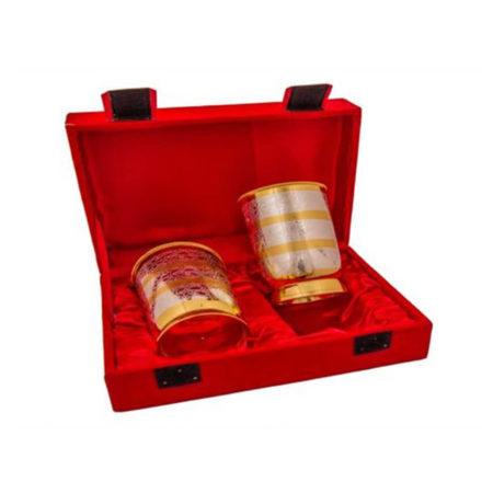 Silver & Gold Plated Regular Water Glass set 2 Pcs