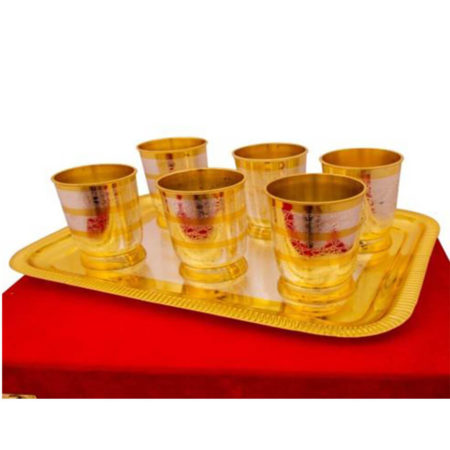 Silver & gold Plated Glass Set