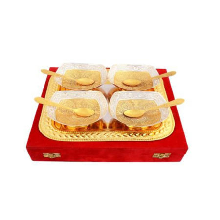 Silver & Gold Plated Brass Bowl Set