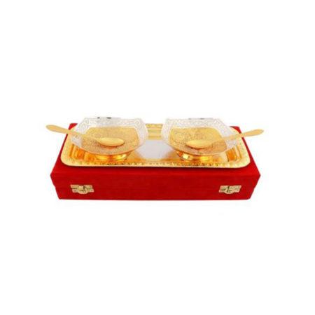Silver & Gold Plated Brass Bowl Set 5 Pcs