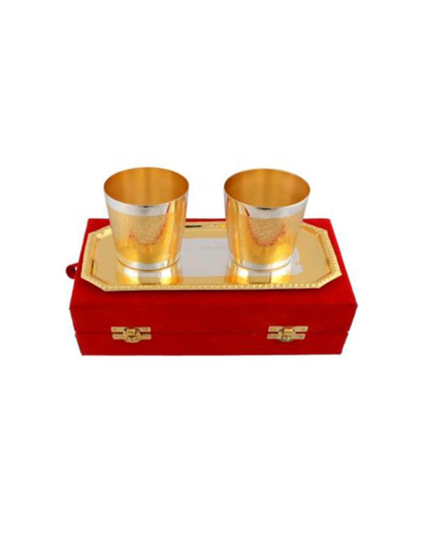 Silver & Gold Plated Glass Set 3 Pcs