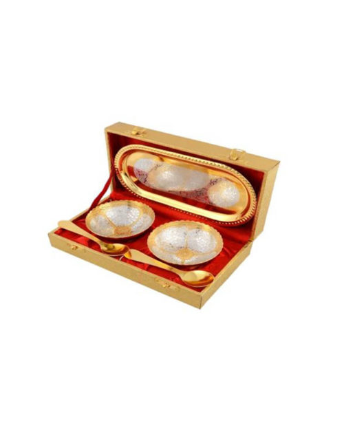 Silver & Gold Plated Round Bowl Set