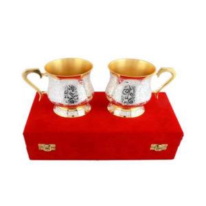 Silver & Gold Plated Brass Coffee Mug Set