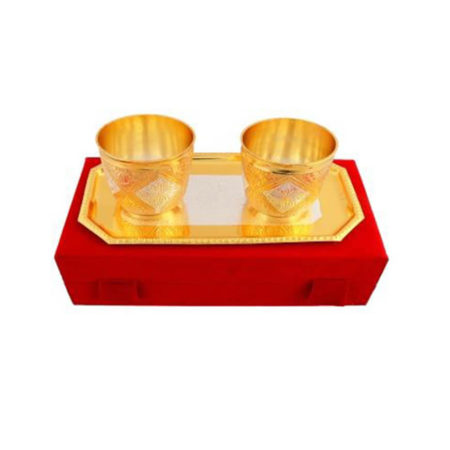 Silver & Gold Plated Brass Glass Set 3 Pcs