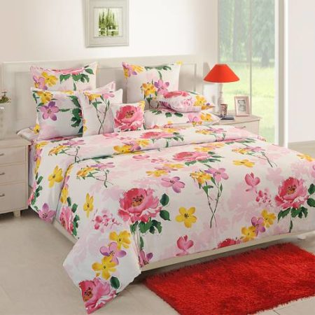 Swayam Sparkle Double Bedsheet with 2 Pillow Cover Set