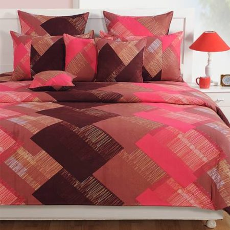 Swayam Caramel Double Bedsheet with 2 Pillow Cover Set