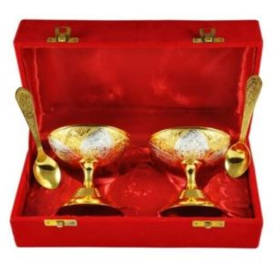 Golden Plated Ice Cream Bowl Set 4 Pcs