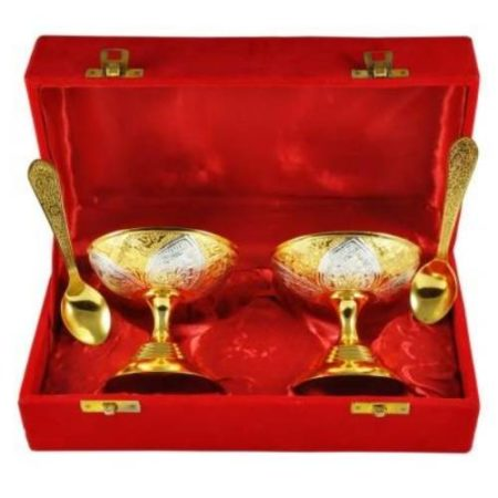 Golden Plated Ice Cream Bowl Set 4 Pcs