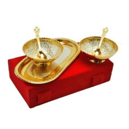 Golden Plated Brass Bowl Set 5 Pcs