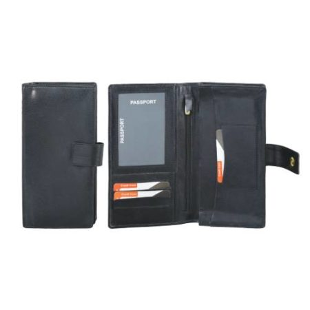 Leatherite Passport Cheque Book Holder Black