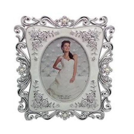 White & Silver Designer Photo Frame