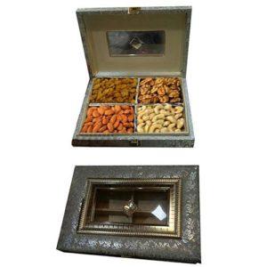 Dry Fruit Wooden Square Design Box