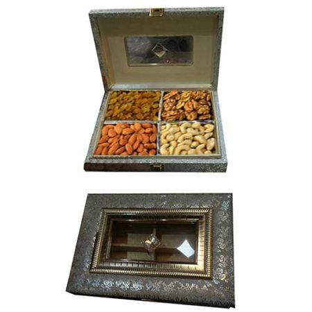 Dry Fruit Wooden Square Design Box