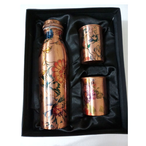 Multi-Colour Flower Design Leak Proof Copper Bottle Set