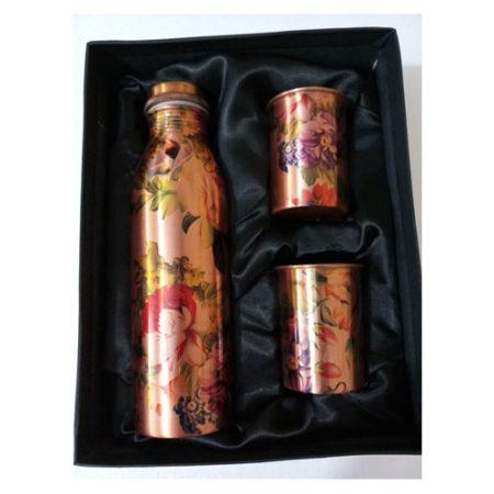 Multi-Colour Flower Design Leak Proof Copper Bottle Set
