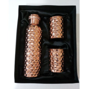 Square Design Leak Proof Copper Bottle Set
