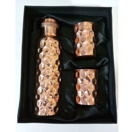 Diamond Hammered Design Leak Proof Copper Bottle Set