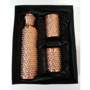 Hammered Designer Leak Proof Copper Bottle Set - Angelgifts
