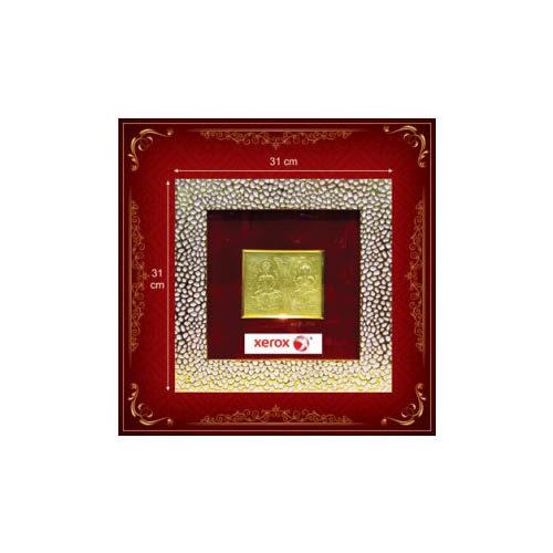 Laxmi Ganesh White & Golden 3D God Frame