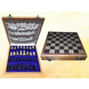 Stone Board with Wooden Box Chess Board