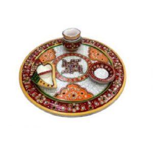Marble Pooja thali with lota, Gifting