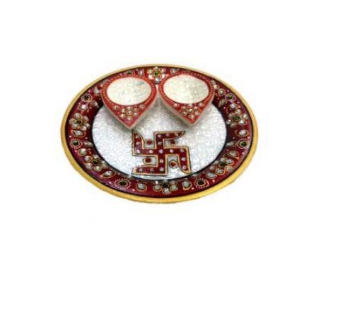 "Marble pooja thali 6"" 2 diya, Diwali Gifting"