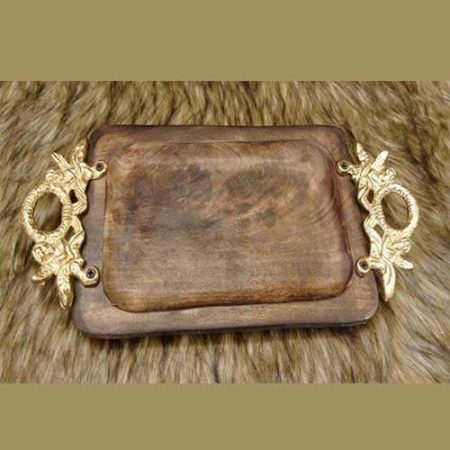 Wooden Square Tray - Golden