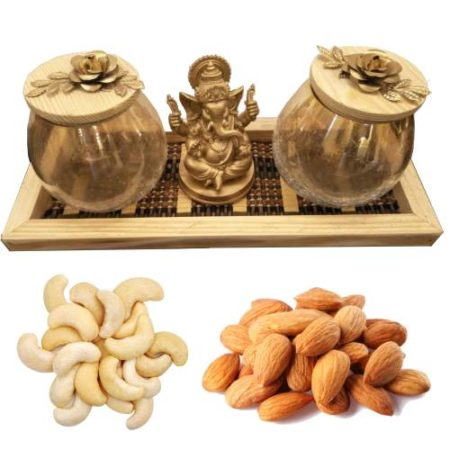 Ganpati Decorative Wooden Set With Dry Fruits