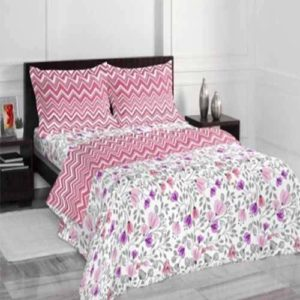 Welspun Core Spaces Expression Cotton Double Bed Sheet With 2 Pillow Cover