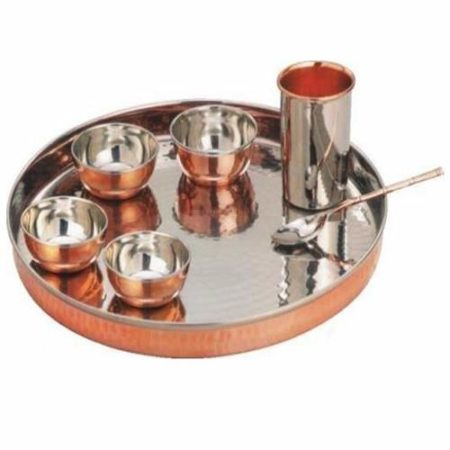 Stainless Steel Copper Traditional Dinner Set of 7pcs