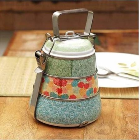 Enamel Steel wire Colorful Tiffin Box- 3 tier