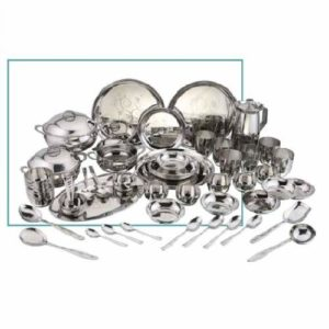 Vinod Stainless Steel 51 Pc Patterned Dinner Set