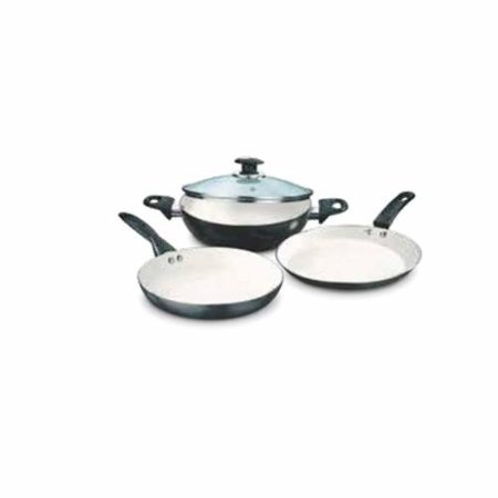 Vinod Long Lasting Ceramic Coated Combo Cookware Set 3 Pcs