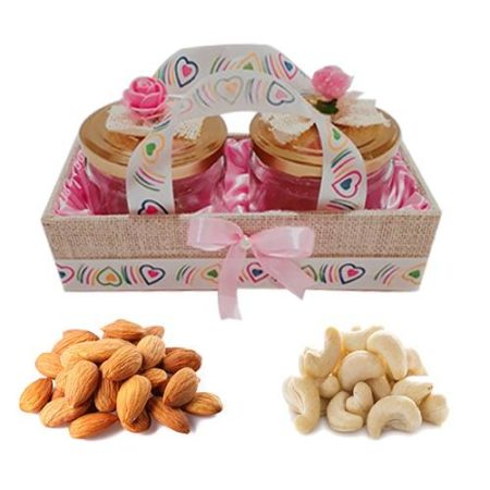 Jute Cover Pink Designer Gift Tray With Dry Fruits