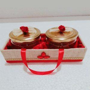 Jute Cover Red Designer Gift Tray