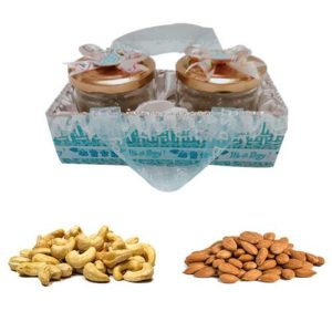 Sky Blue Ribbon Designer Gift Tray with Dry Fruits
