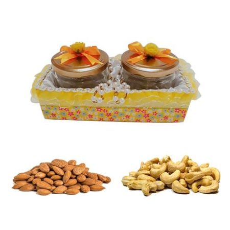Yellow Designer Pearl Handle Gift Tray with Dry Fruits