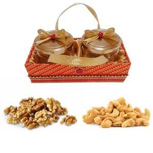 Red & Golden Designer Gift Tray With Dry Fruits