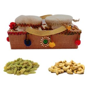 Pom Pom Jute Cover Gift Tray with Dry Fruits