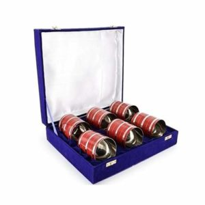 Stainless Steel Red colour Glasses Set Of 6 Pieces