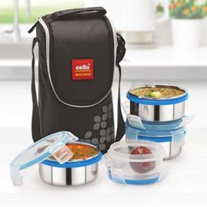 Cello Max Fresh Steel Click 4 Containers Lunch Box