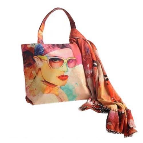 Swayam Digital Print Scarf with Bag