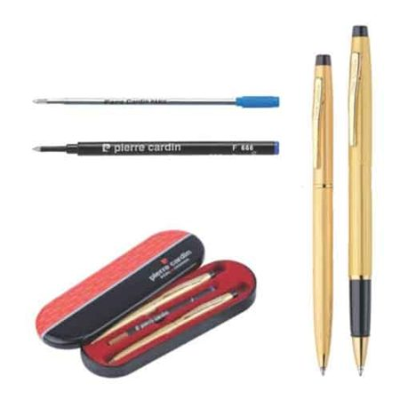 Pierre Cardin Kriss Satin Gold Set of Roller Pen & Ball Pen