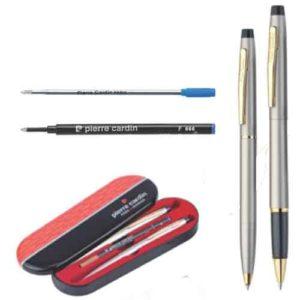 Pierre Cardin Kriss Satin Nickle Set of Roller Pen & Ball Pen
