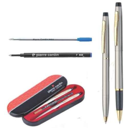 Pierre Cardin Kriss Satin Nickle Set of Roller Pen & Ball Pen